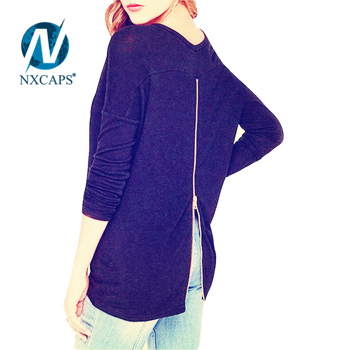 Women purple t shirt with back zip solide plain long sleeve tees Fashion t-shirt Lone line t shirt own back zipper blank no printed tees with spring