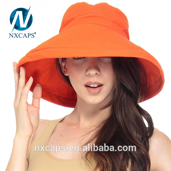 Style beach hat orange women summer hats custom bucket hat wide fold up brim sun hat cap Fishing Outdoor Cap Summer Beach Sun Hats for Womens