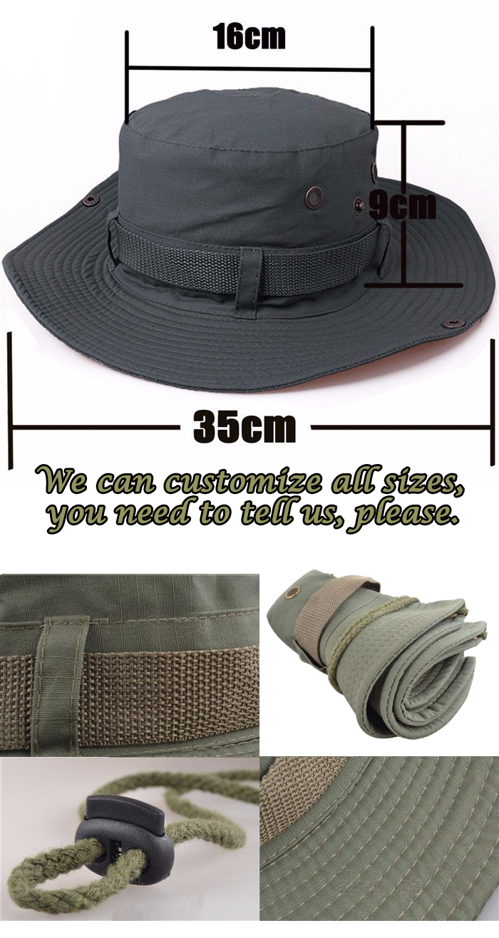 Custom came military boonie hat wholesale blank Travel Bucket hats basin cap with Wide Brim Strings Camping Hiking fisherman cap.jpg