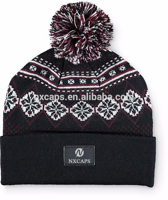 Plain blank jacquard knitted pom beanie hats custom woven label knited beanies women mens the beanie.jpg