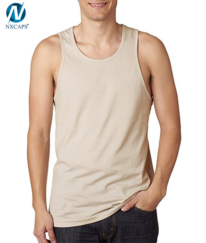 Stylish mens jersey tank top fitness gym tank tops 100% cotton singlet plain sleeveless t shirt, Jersey Tank Top,Tank Top Fitness,Fitness Gym Tank Top,nxcaps shenzhen fashion company