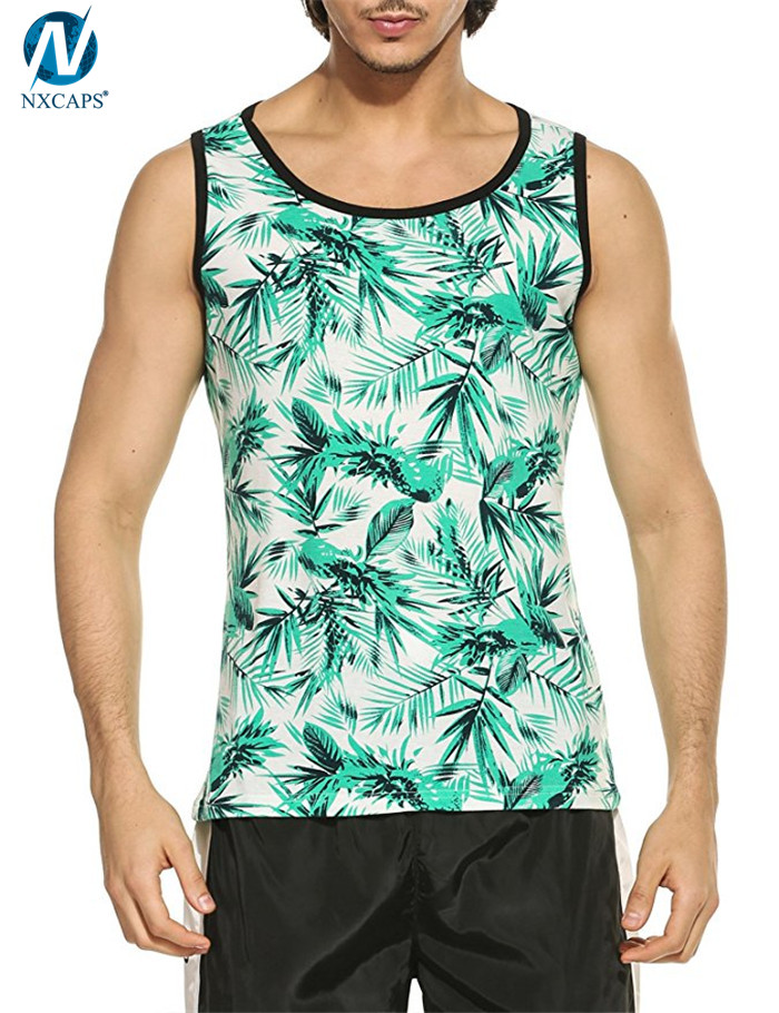 Custom printed tank top mens all over print singlet slim fit sleeveless t shirt casual pullover vest,all over print tank top,printed tank top,slim fit tank top,nxcaps shenzhen fashion company