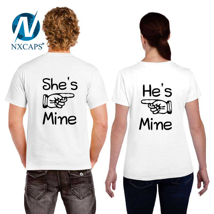 Love couple t shirt custom printed cute cartoon character matching white color in tshirt Design lovers t-shirt cartoon character printed t-shirt