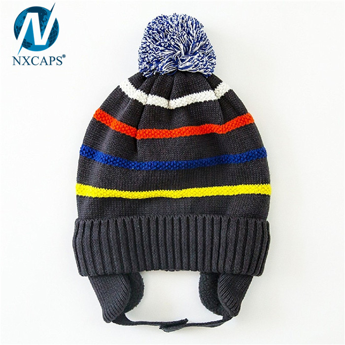 100 cotton kids beanies earflap beanie hat striped children knitted hats cuff winter cap with top ball,Kids beanies,cotton beanie,earflap kids beanies,beanie hats with top ball,nxcaps shenzhen fashion company