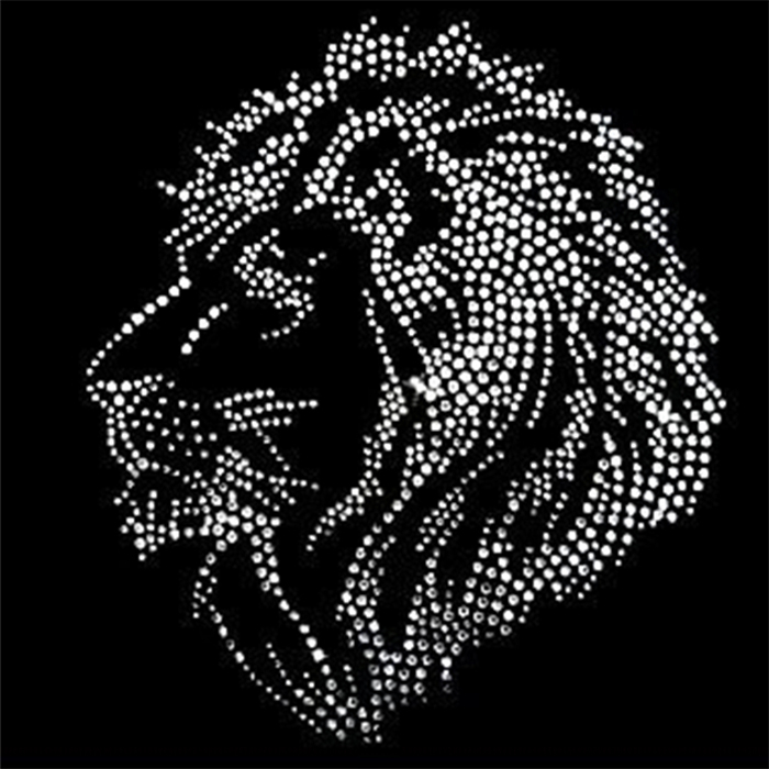 Super crystal ione and white Rhinestone hot fix lion on bling transfer T Shirts