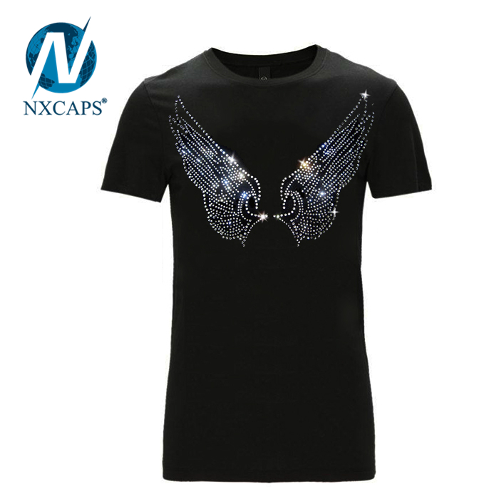Crystal t shirt Angel wings rhinestone with black plain cotton t shirts