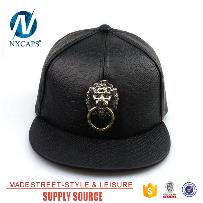 Genuine leather snapback hat black own gleaming brass knocker decorate lion label baseball cap