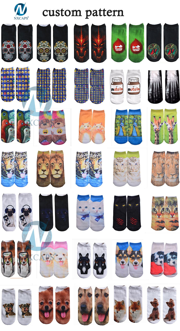 Thick Sublimation Print Tiger Cotton Socks 3D printing custom logo